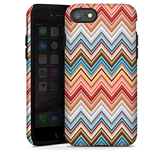 Apple iPhone X Silikon Hülle Case Schutzhülle Zickzack Retro Muster Tough Case glänzend