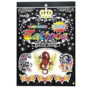 Gifts 4 All Occasions Limited SHATCHI-1015 No. 21 - Pegatina para bolsa de fiesta (impermeable, no tóxica, diseño de tatuajes), multicolor