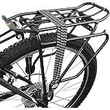 BV Bicicleta, banda cuerda elástica triple de color negro gris y blanco con ganchos de metal plateado, sujeta los artículos alrededor de la parrilla estante y alrededor de la mayoría de los portadores. Correas Banda de Equipaje para Bicicleta Ciclismo BV-S02