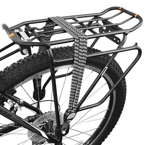 BV Triple cuerda elástica para bicicleta con fijaciones de metal, color negro/gris/blanco