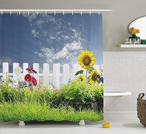 Farm House Decor Shower Curtain, Grass Foliage Field with Bar Sunflowers Daisy Hedge Yard Cloudy Jardin, Fabric Bathroom Decor Set with Hooks, 72x72 inches Extra Long, White Green Blue (Bar Wave New Halloween)