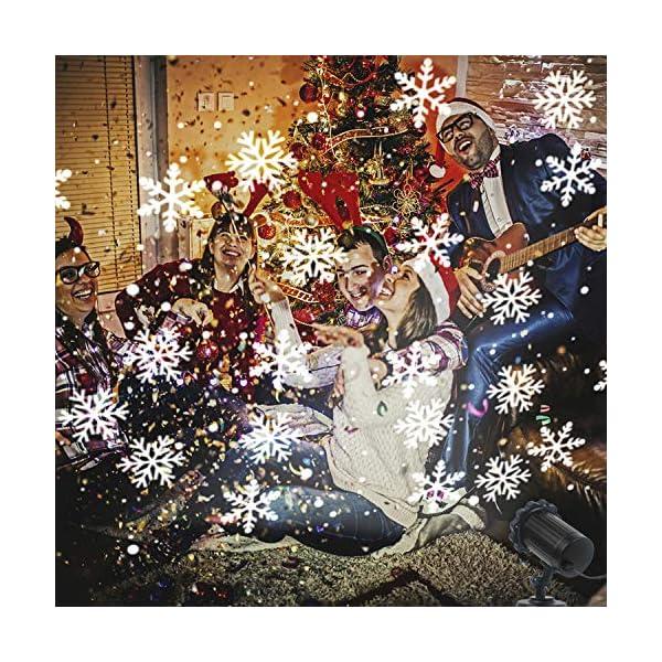 Luce Natale Proiettore Decorazioni Luci Natale Esterno Proiettore Lampada Luce Fiocchi di Neve Decorativi Spotlight di… 3 spesavip
