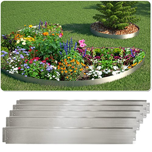 Rasenkante 5m 10m 20m 30m 100x14cm oder 100x18cm verzinkt Beeteinfassung Beetumrandung Mähkante Metall Palisade (Länge 10m - Höhe 14cm)