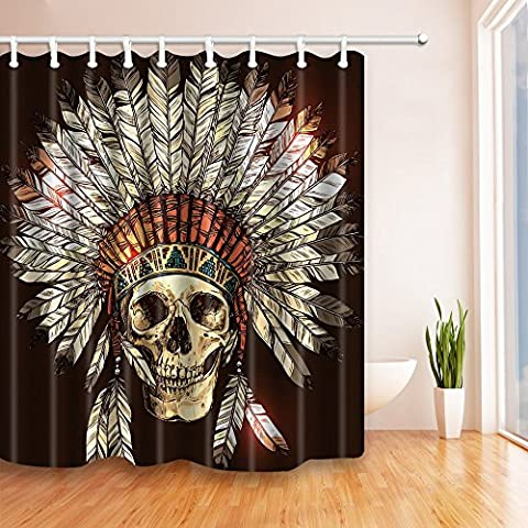Western American Decor Shower Curtains By JAWO Skull Head Tribal