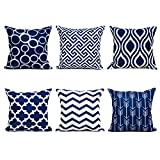 Top Finel Canvas Decorative Throws Pillows Cushions Covers Creative Pillowcase for Sofa Bedroom Set of 6, 18x18 Inch, Navy
