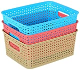 #9: Rpa Premium Quality Multipurpose Small Rectangular Tapered Hollow Mesh Basket Set of 3 (Multi Color) Can be used for fashion Storage box, Kitchen Utility (for fruits and vegetables ), Living Room, Kids Room(stationery, toys ), Bedroom, Bathroom And Office Storage.