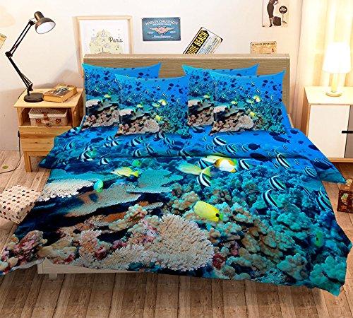 Preisvergleich Produktbild 3D rot blau Einzelbett Seabed Coral Fish 279 Bettwäsche Kopfkissen,  Steppdecke Bettbezug Set QUEEN King / 3D-Foto Bettwäsche,  AJ Tapete UK Sieben