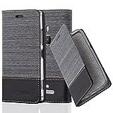 Cadorabo Hülle für Nokia Lumia 925 - Hülle in GRAU SCHWARZ – Handyhülle mit Standfunktion und Kartenfach im Stoff Design - Case Cover Schutzhülle Etui Tasche Book