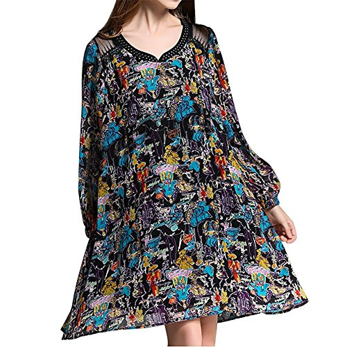 MCC grandi dimensioni sciolto pizzo casuale cuciture stampato molla del vestito Women 's e in autunno , blue lines , xl - Fiore Di Seta Accenti