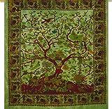 """Doppelbettdecke mit indischem Mandala-Motiv """"Lebensbaum"""" - grün, Größe 90 x 84 cm, Hippie-Mandala-Wanddeko, Mandala-Wandteppich, Hippie-Tagesdecke, Tapisserie mit Blumen- und Vogelmotiv"""