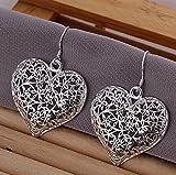 Lizes 925 Silver Women Hollow Big Love Scrub Flower Heart Earings