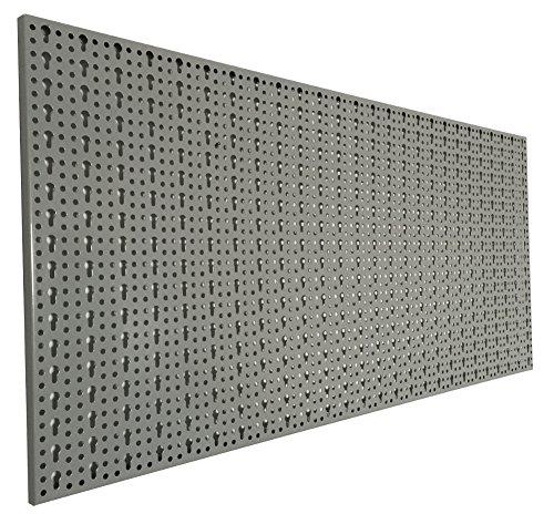 Preisvergleich Produktbild XL Lochblech aus Metall mit Schlüssellochung 25 mm. Pulverbeschichtet in Hellgrau, Stärke ca. 1 mm. Maße 98 x 46 x 1 cm.