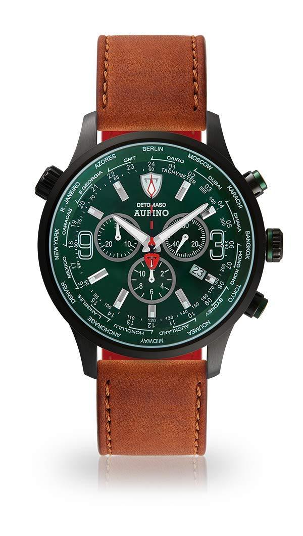 Detomaso aurino Racing Hombre Reloj de Pulsera Cronógrafo analógico de Cuarzo Carcasa de Acero Inoxidable Negro Esfera Verde