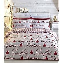Árbol de Navidad cama tamaño King funda de edredón y 2funda de almohada juego de ropa de cama rojo blanco Navidad adultos