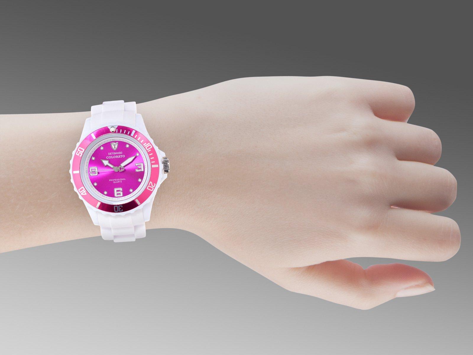 Detomaso DT3007-G – Reloj analógico de Cuarzo para Mujer, Correa de Silicona Color Blanco (Agujas luminiscentes, Cifras luminiscentes)
