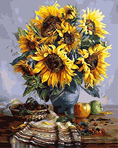 YEESAM ART Neuerscheinungen Malen nach Zahlen für Erwachsene Kinder - Sonnenblume Vase 16 * 20 Zoll...