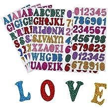 6 Hojas de Pegatina de Espuma Brillante Pegatinas de Letras Alfabeto Pegatinas de Números Pegatinas Autoadhesivas