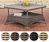 CLP Design Outdoor Lounge-Tisch Pandora, Höhe 60 cm, Tischplatte WPC, 5 mm Rattan Geflecht, ALU Gestell, mit Stauraum, Ablage unter der Tischplatte Grau Meliert, 100 x 100 cm
