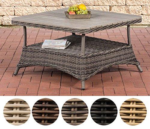 CLP Design Outdoor Lounge-Tisch Pandora, Höhe 60 cm, Tischplatte WPC, 5 mm Rattan Geflecht, ALU...