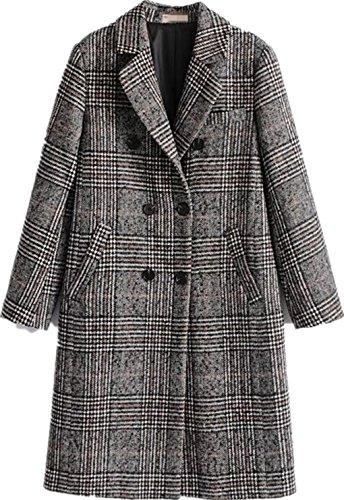 Face Dream Damen Wintermantel/Mantel mit zweireihiger Wolle, klassisch, mit Gittermuster - Grau - Klein