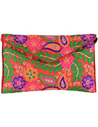 Shubhangi Women's Sling Bag (Jaipuri Embridered Handicraft Traditional Sling Bag,Multi-Coloured, R32024 Red)