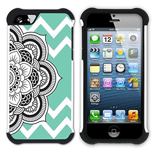 Graphic4You Mandala Blume Winkel Muster (Wasserblau) Hart + Weiche Kratzfeste Hülle Case Schale Tasche Schutzhülle für Apple iPhone SE / 5 / 5S Wasserblau