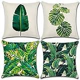 Soleebee Lot de 4- Taies d'oreiller Coton Lin Jeter Taies d'oreiller Housse de Coussin de Voiture pour canapé-lit décor de la Maison Ensemble, 45 x 45 cm (Plantes Tropicales)
