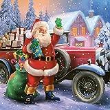 Servilletas de la servilleta 33 x 33 cm decoupage Navidad de Santa Claus con coche y de invierno Nieve regalos