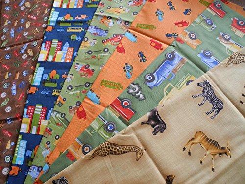 Qjutie Lottashaus Stoffpaket 6 Stück 50x55cm Junge Tiere Löwe Elefant Afrika Kinder Straße Autos Fahrzeug Verkehr Verkehrsschilder LKW 100% Baumwolle