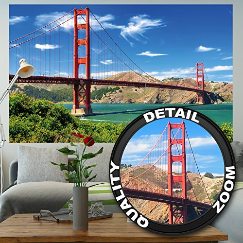 great-art Fototapete Golden Gate Bridge Wandbild Dekoration Hängebrücke San Francisco Kalifornien Wanddeko USA Sehenswürdigkeiten | Foto-Tapete Wandtapete Fotoposter Wanddeko by (210 x 140 cm)