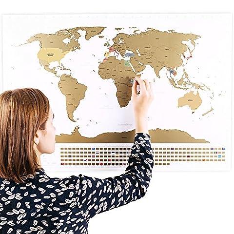 Rubbel Weltkarte mit Fahnen (Deutsch) XXL + BONUS A4 Größe Rubbellandkarte der Deutschland! - Personalisiertes Poster um Reisen zu verfolgen - Zeigen Sie Ihre Abenteuer! | Einzigartiges Design von ENNO VATTI (Weiß | 84 x 58 cm)