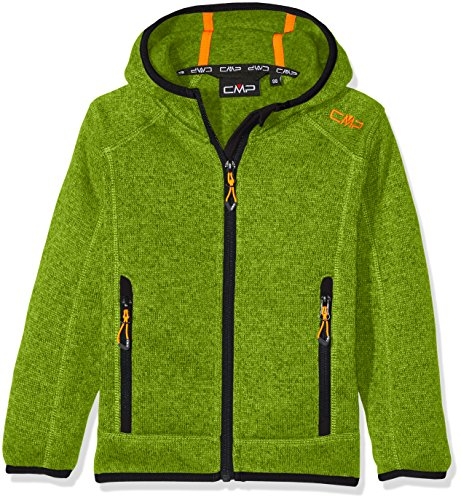 CMP Jungen Strick Fleece Jacke, Lime Green-Antracite, 116, 3H60844 (Kinder Jacke Fleece)
