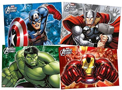 Unique Party - Paquete de 4 manteles de Los Vengadores de Marvel