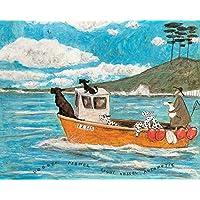 "Sam Toft ""Dogger, Fisher, Light Vessel Automatic"" Canvas Print, Cotton, Multi-Colour, 3.20 x 40.00 x 50.00 cm"