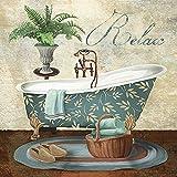 Rahmen-Kunst image-châssis -CONRAD Knutsen : bain se détendre Image de toile bain Wellness Bac THALASSO intérieur - 50x50