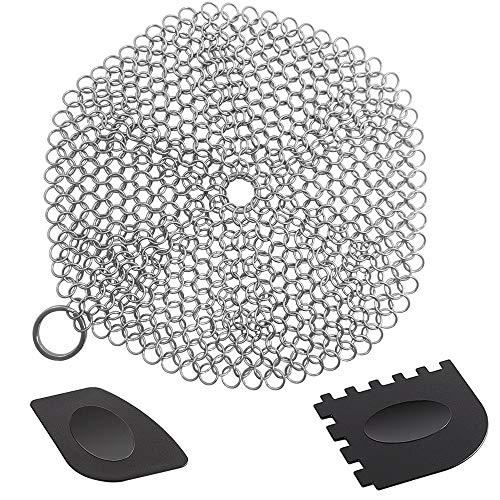 SENHAI - Limpiador redondo de hierro fundido con raspadores de parrilla de plástico duraderos, acero...