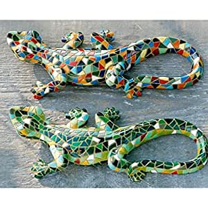 Skulptur eidechse salamander mosaik wanddeko l - Wanddeko eidechse ...