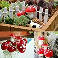CDELEC 6PCS Little Mushroom Micro Landscape Bonsai Plant Garden Craft Decor Stakes Accessory Mini Decoration