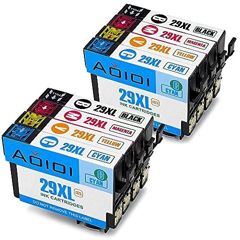 Aoioi 8er-Pack 29 29XL Kompatibel Tintenpatronen Ersatz für Epson 29XL(2 Schwarz, 2 Blau, 2 Rot und 2 Gelb) für Epson XP-342 XP-332 XP-345 XP-442 XP-445 XP-432 XP-247 XP-335 XP-235 XP-245 XP-435 XP-330 XP-430