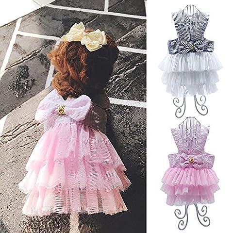 Berry pour chien et chat chiot d'été Mariage Robe en dentelle Tutu Princesse Jupe Vêtements Déguisement pour animal domestique avec