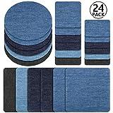 Patches zum aufbügeln, Rymall 24 Stück 6 Farben Denim Baumwolle Patches Bügeleisen Reparatursatz, Aufbügelflicken Bügelflicken, 4 Größen