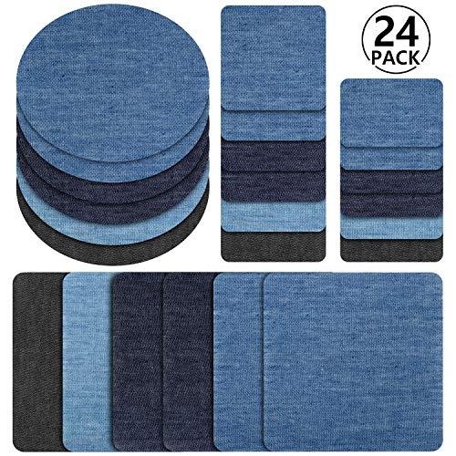 Toppe termoadesive jeans, rymall 24pcs 6 colori denim ferro-on turno patch fai artigianato jeans vestiti patch riparazione kit accessorio