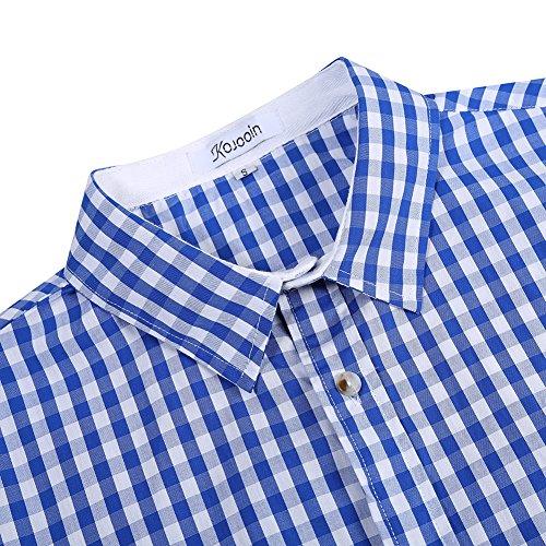KoJooin Trachten Herren Hemd Trachtenhemd Langarmhemd Freizeithemd Baumwolle - für Oktoberfest, Business, Freizeit (2XL, Blau1) - 4