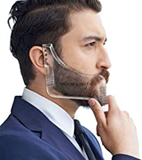 Willow & Smith Beard Shaping Template Plus Beard Comb With Scissor All-In-One Tool for Men Boys, Transparent