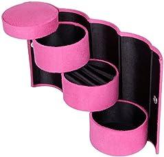 Lemish Portable 3 Layered Plastic Round Jewelry Organizer (Pink)