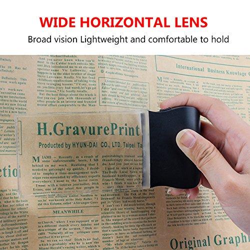 LED 2X großes rechteckiges Leselupe Handlupe mit Licht - 2,3 x 4 randlose Verzerrung-Free-Objektiv für Low Vision, Senioren, Bücher, Seiten, Zeitschriften, Zeitungen und Karten (Groß rechteckig) - 6