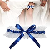 DURANTEY Giarrettiera Sposa Giarrettiera Sposa Blu e Bianca Graziosa per Matrimoni Giarrettiere Elastiche Color Blu Accessori