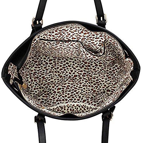 Meine Damen Umhängetaschen Frauen Große Designer Handtaschentoteschulterkunstleder Modische Taschen Promi Stil Kunstleder (D - Dark Nude) A - Schwarz/Nude