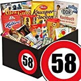 DDR Box mit Süßigkeiten zum 58. Geburtstag | Süßigkeiten Geschenkbox | DDR Box mit Othello Keks Wikana, Brausepulver, Schokolade DDR Geldschein und vielem mehr