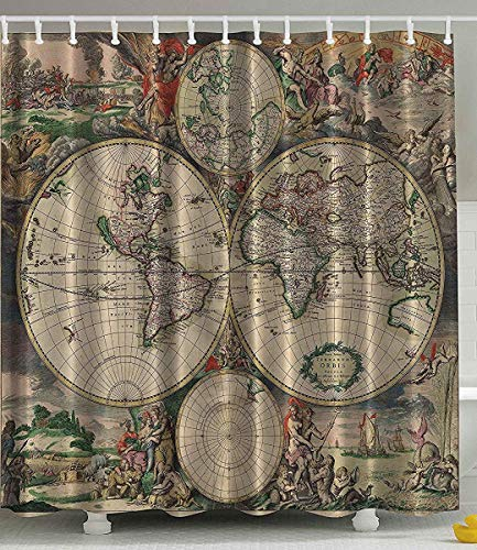 Shower Curtain Antiques Old World Map Globe Art Lounge Decor Antique Traditional Ancient Antiqued Look Treasure Ocean Vintage Educational Print Polyester Fabric Shower Curtain Beige Green Gray Orange (Old Globe World)